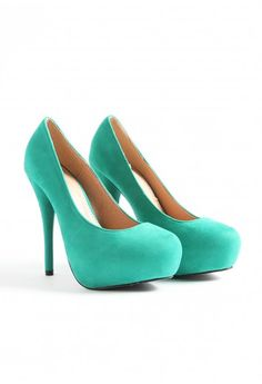 Balis Suede Platform Court Heels  Green $48.98...so cute but i would need a major tan to pull them off