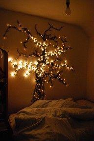 Bedroom tree with Christmas lights
