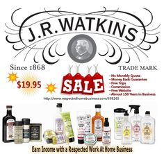 Interested in Watkins products or becoming a Watkins Consultant? Special enrollment fee ($19.95) Personal Support Team! Free welcome package!  ♦Earn Commission, Trips, and Rewards! Free Website! No Monthly Quota! ♦Highest Quality, in-demand consumable products! Almost 150 Years of Heritage! Take the Online Tour and see what Watkins can offer you!     http://www.respectedhomebusiness.com/398265 ( Order online at www.jrwatkins.com  Please enter consultant code #398265 during purchase. )…