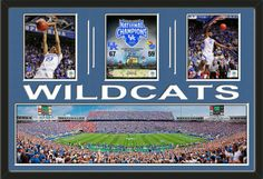 Three framed 8 x 10 inch University of Kentucky photos of Commonwealth Stadium with a large University of Kentucky stadium panoramic, double matted in team colors to 36 x 24 inches.  The lines and WILDCATS* are cut into the top mat and show the bottom mat color.  The stadium view may be cropped to fit.  $199.99 @ ArtandMore.com