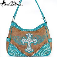 Amazon.com: Montana West Western Cowgirl Western Rhinestone Gemstone Studded Cross Embroidered Eagle Wing Color Block Handbag Purse Hobo Tote Satchel in Turquoise Blue and Brown: Clothing $43.99