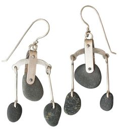 """Balancing Rocks  Sterling Silver. Handpicked stones slightly sway on a silver balance. 2 3/4""""  Price: $156.00"""
