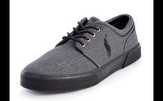 POLO RALPH LAUREN  FAXON LOW Men 9.5 Grey Canvas Lifestyle Shoes  #PoloRalphLauren #LifestyleShoes