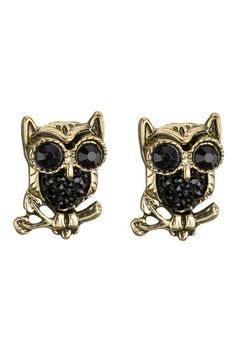Rhinestone Owl stud earrings (original price, $8) available at #Maurices