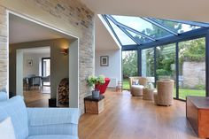 The glazed extension is made up of fixed picture windows and a bespoke lean to roof Extension Designs, House Extension Design, Roof Extension, House Design, Garden Room Extensions, House Extensions, Express Bi Folding Doors, Lean To Roof, Glass Room