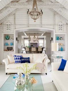 One of my all time favorite coastal rooms! Need some books, then perfect!