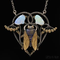 Art Nouveau Pate-de-Verre and Opal Pendant | Sale Number 2641B, Lot Number 143 | Skinner Auctioneers