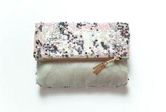 ISABELLA Fold Clutch. Sequin and Metallic by GiftShopBrooklyn, $62.00