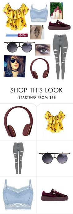 """""""Headphones on. World off."""" by nannaboat ❤ liked on Polyvore featuring Kreafunk, Topshop, Lipsy, Puma and Lime Crime"""