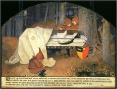 """windypoplarsroom:  Marianne Stokes  """"Snow white in her glass coffin is mourned by the dwarfs"""""""