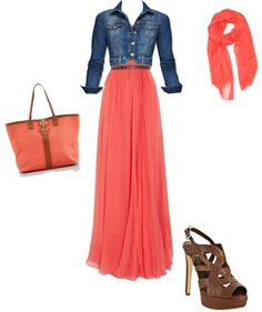 "I already have the dress & shoes - just need the jean jacket & scarf! ""Coral and Brown"" by smithlizzy ❤ liked on Polyvore"