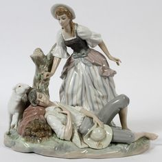"LLADRO PORCELAIN FIGURAL GROUP, 'REST IN THE COUNTRY', #4760, H 11"", W 13"":Number 4760, a late 18th century provincial style couple.  Sold for $250 in 2013"