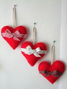 Christmas Tree Decorations, Felt Hearts Set of 3, Christmas Tree Decor Christmas Ornaments, Christmas Gift