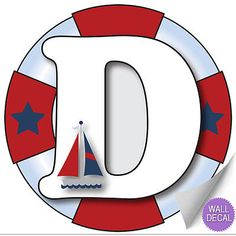 "Wall Letters ""D"" Nautical Ocean Sailing Red White Blue Letter Stickers Alphabet Initial Vinyl Sticker Kid Decals Children Room Decor Baby Nursery Boys Bedroom Decorations Child Names Boat Whale Anchor Alphabet Stickers, Monogram Alphabet, Kids Stickers, Boys Bedroom Decor, Nursery Wall Decor, Nautical Letters, Sailor Theme, Wall Decals, Sticker Vinyl"