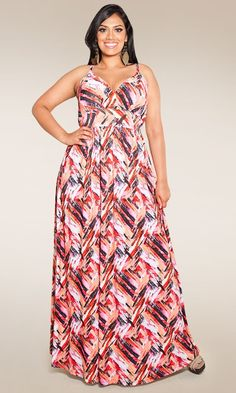 A classic, spaghetti strap plus size maxi dress perfect for every occasion in new abstract prints. Dress it up with bold earrings or keep it simple with classic flats or wedges. This material is virtually wrinkle free.