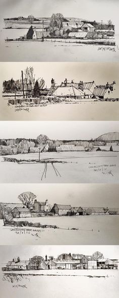 Landscape architecture drawing, scetch ideas