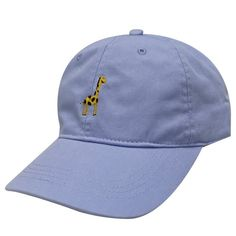 70a8eb90051 Capsule Design Giraffe Embroidered Cotton Baseball Dad Cap Sky Blue