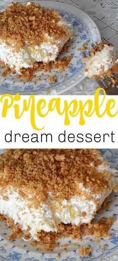 Pineapple dream is one of those perfect potluck desserts. Cream cheese, pineapple, whipped cream and graham crackers, yum! Potluck Desserts, Summer Desserts, No Bake Desserts, Easy Desserts, Delicious Desserts, Yummy Food, Baking Desserts, Baked Pineapple, Pineapple Desserts