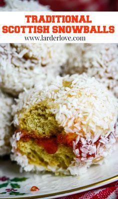 How to make traditonal Scottish snowballs cakes. A sweet treat of jam filled fun. #scottishbaking #teatime #cakesandbakes #scottishrecipes #snowballs #larderlove