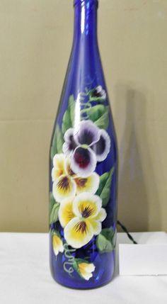 Wine Bottle Lamp-Light-Night Light-Blue Glass or Green Glass-Pansies