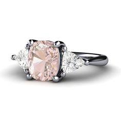 Custom Pink Sapphire Engagement Ring Light Pink Sapphire Ring 3 Stone White Sapphire Trillions in Palladium