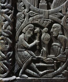 Wooden carving from Hylestad stave church, Norway, 12th century. Artist: Werner Forman