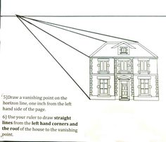 The Helpful Art Teacher: Perspective Drawing 101...Drawing a house and a hallwayusingonepointperspective