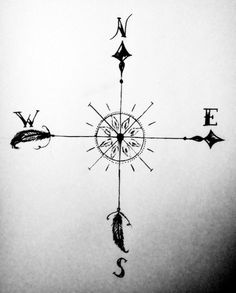 wind rose tatoo idea, simple