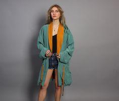 vintage 80s oversized 2-tone silk parka jacket