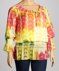 Another great find on #zulily! Yellow & Pink Geometric Peasant Top - Plus #zulilyfinds