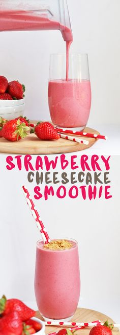 This vegan Strawberry Cheesecake Smoothie is healthy enough for breakfast and tasty enough for dessert. How great is that?!