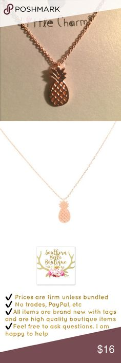 """Dainty rose gold toned pineapple necklace Adorable 1/2"""" pineapple on a dainty chain. Very cute and trendy. Perfect summer necklace. 16"""" length Jewelry Necklaces"""