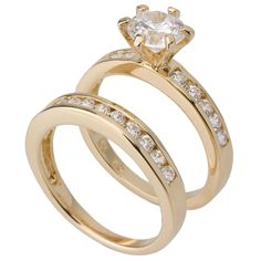18ct Yellow gold plated wedding ring set and engagement ring set - http://www.weddingringpictures.info/2014/11/12/18ct-yellow-gold-plated-wedding-ring-set-and-engagement-ring-set-2/
