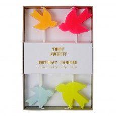 Kerze Vögel - 8 Stück  Bunt