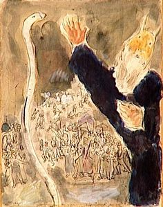 Moses casts his stick that transformed into a snake on the orders of the Lord, that referred to Aaron and Moses, when they had visited Pharaoh (Exodus, IV, 1-5, VII, 8-13) - Chagall Marc