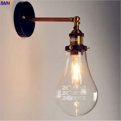 IWHD Glass Nordic Industrial Wall Lights Fixtures LED Stair Light Edison Retro Vintage Wall Sconce LED Lampara Pared  Arandela