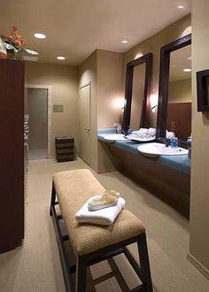 Spa bathroom | leaning vanity mirrors