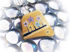 Spring Daisies Pendant Hand Painted Sea Pottery by turquoiseeye