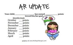 This is a great form to notify parents of their childs Accelerated Reader progress. All you have to do is fill in your students monthly goals and...