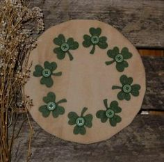 st. patrick's day rugs | Primitive-St-Patricks-Day-Wool-Shamrocks-Penny-Rug-Wool-St-Pattys ...