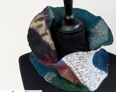 Multicolor Women Cowl  - Wearable Art - Nuno Felt Merino Wool Scarves - Autumn Winter Neckwarmer - Oustanding Designer Statement Paris