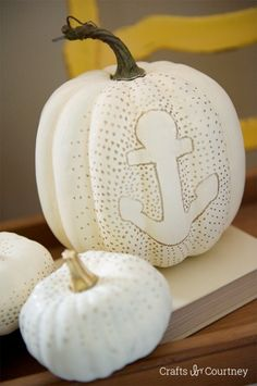 Coastal Fall Decor Ideas: Coastal Anchor Pumpkin for Fall - Crafts by Courtney