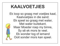 Afrikaans Is Maklik Songs For Toddlers, Rhymes For Kids, Grade R Worksheets, Afrikaans Language, Phonics Chart, Family Yearbook, Afrikaanse Quotes, Kids Poems, Teachers Aide
