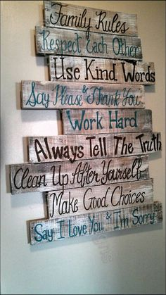 House rules sign family rules sign wood signs wood signs sayings wall signs home rules pallet signs wood signs home Wood Pallet Projects family Home House Pallet rules sayings sign Signs wall Wood Wood Pallet Signs, Pallet Art, Diy Pallet Projects, Wood Pallets, Wooden Signs, Pallet Wall Decor, Pallet Walls, Wood Planks For Walls, At Home Projects