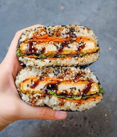 Tofu Katsu Sushi Sandwiches or Onigirazu! by Japanese Sushi Rice. Sushi Rice Recipes, Cucumber Recipes, Sushi Sandwich, Sushi Burger, Picnic Sandwiches, Sushi Sushi, Breakfast Sandwiches, Asian Recipes, Healthy Recipes