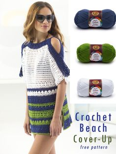 With skill level easy+ (crochet pattern for beginners) this colorful beach cover-up may be your next fun project. What makes this breezy crochet wearable look so fresh? White, navy blue, and green colors are so perfect for summer! This cold-shoulder, openwork crochet cover-up is a must-have piece for your next beach outing, lazy summer days by the pool, or next vacation. #crochet #beachcoverup #diy