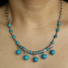 Collier tibétain en turquoise - Bijoux femme en pierres semi précieuses jade lapis lazuli amethyste turquoise bijou Tibetain et Maori