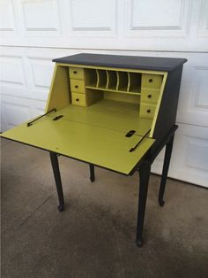 Upcycled vintage secretary desk with chartreuse Krylon interior and charcoal exterior. Brass Hippo Shop on etsy. Grey Furniture, Furniture Dolly, Refurbished Furniture, Upcycled Furniture, Furniture Projects, Furniture Makeover, Cool Furniture, Painted Furniture, Painted Secretary Desks
