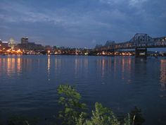 Downtown Peoria, Illinois, and the Murray Baker Bridge at dusk