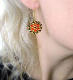 Earrings - Orange Retro - Bright Orange, Dark Chocolate Brown, 24k Gold plate - 24k Gold plated sterling silver hoops